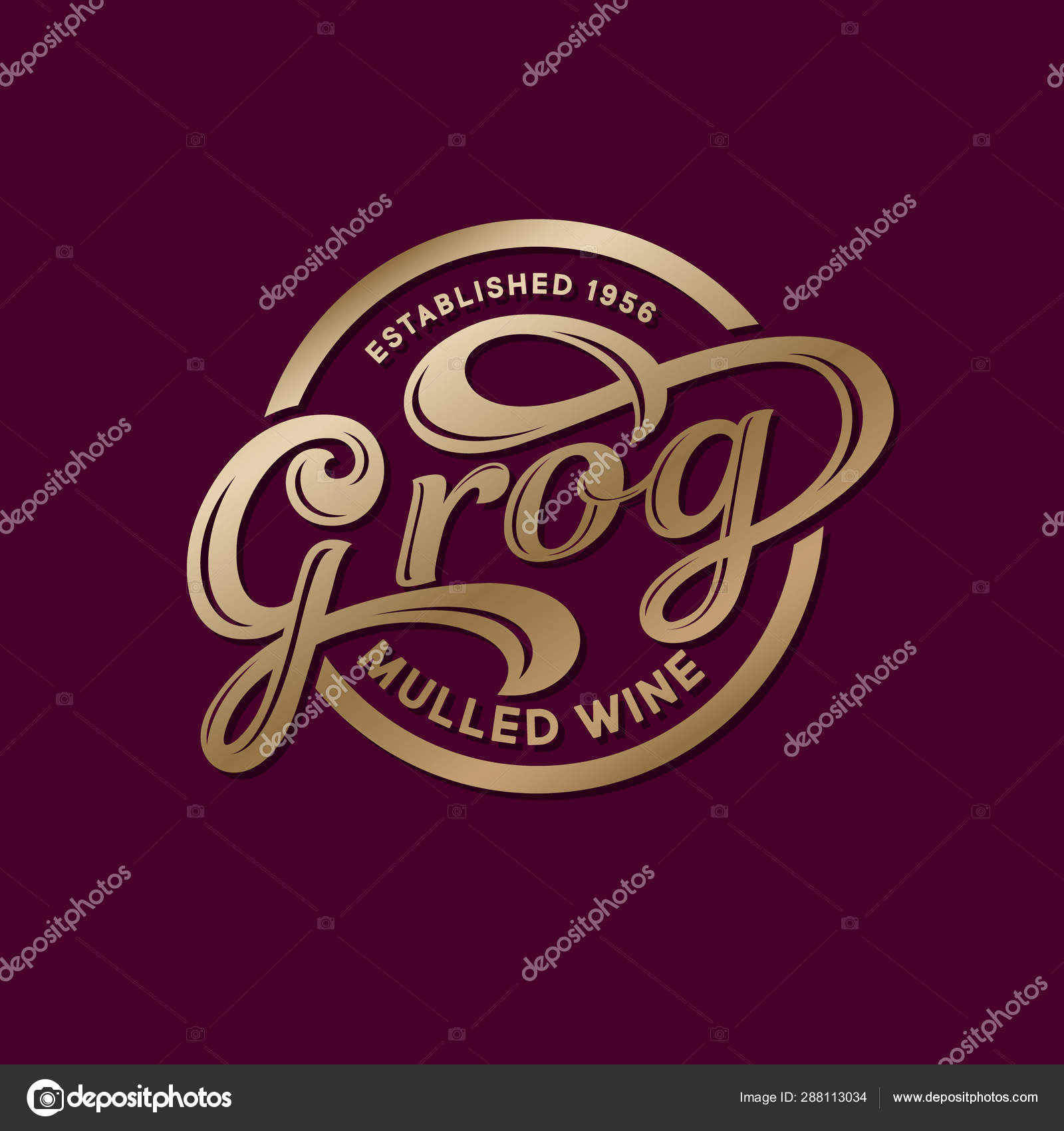 Grog Logo Mulled Wine Cafe Wine Restaurant Logo Gold Calligraphic Stock Vector C Nataly 314 288113034