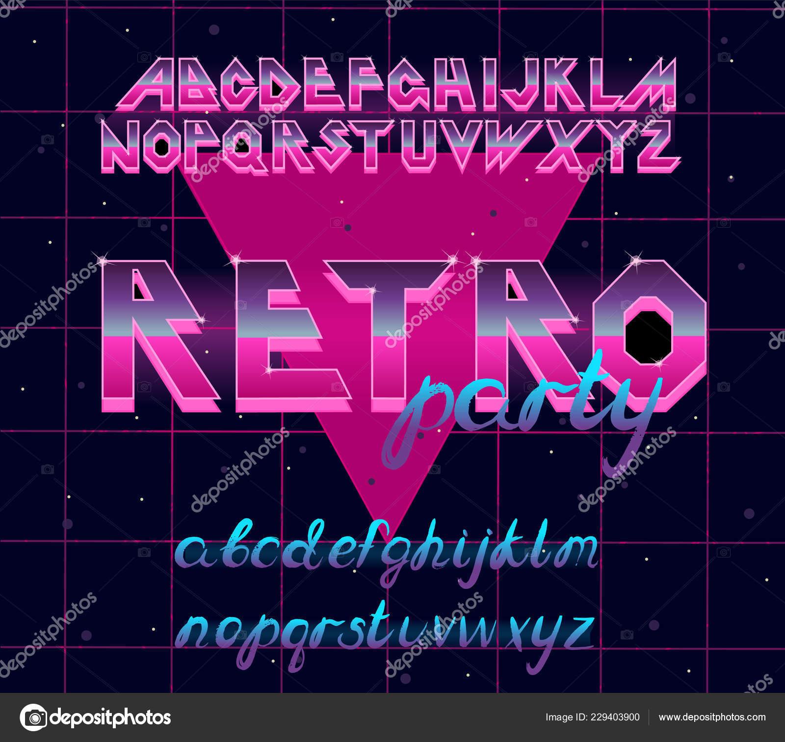 80 s retro alphabet font  Vector typography elements design