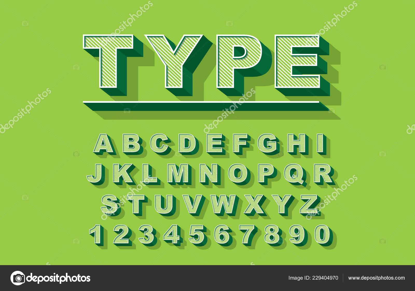 3d Bold retro font  Vintage Alphabet vector 80 s, 90 s Old style