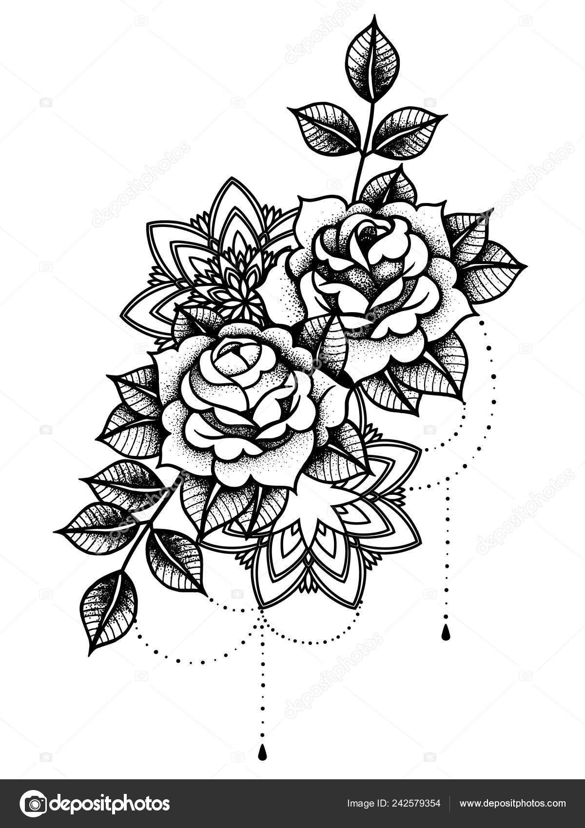 Tatuaż Róża Mistyczny Symbol Kwiat Z Sznurek Koralików