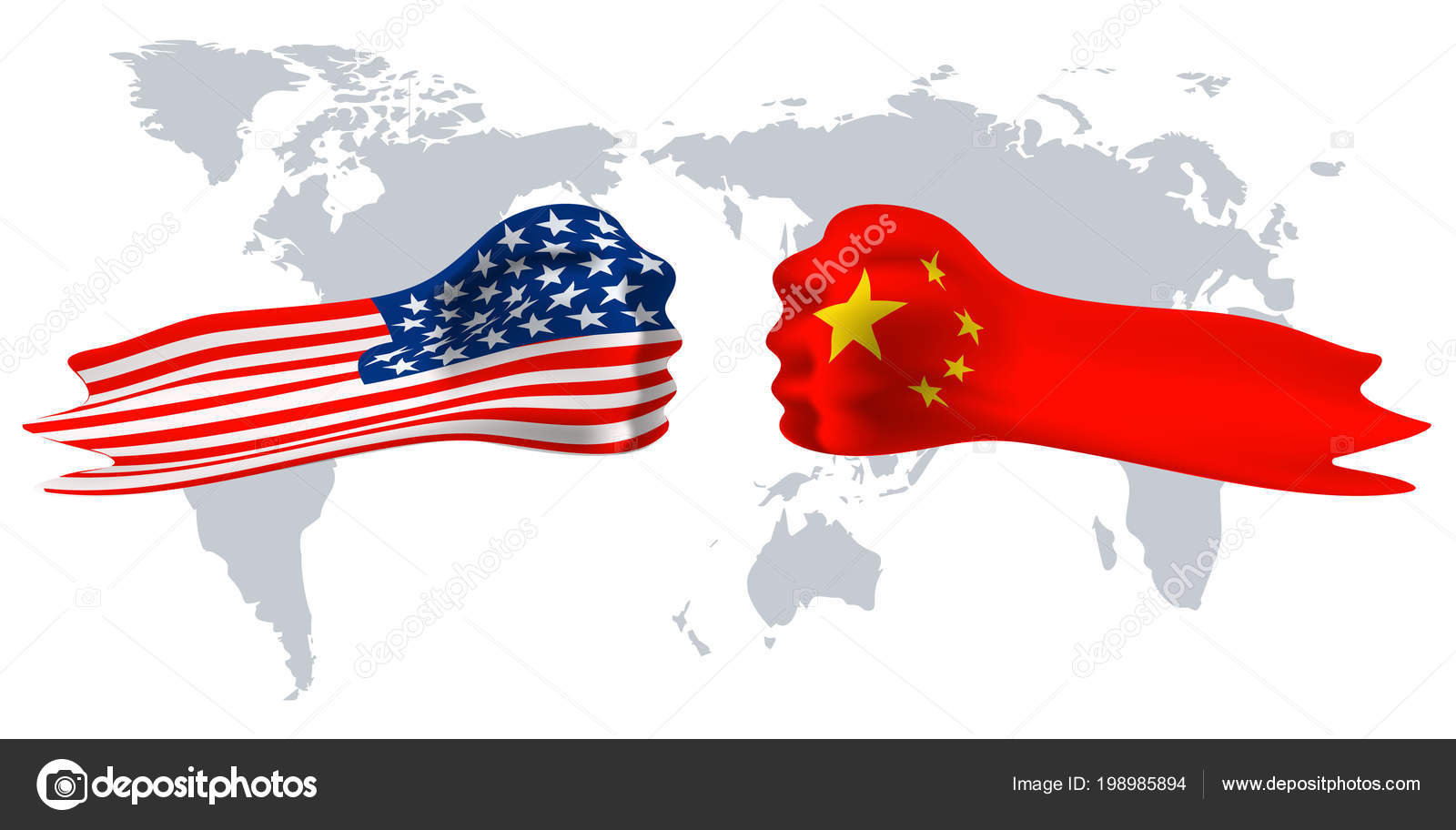 Usa versus china fist flag on world map background stock vector usa versus china fist flag on world map background stock vector gumiabroncs Choice Image