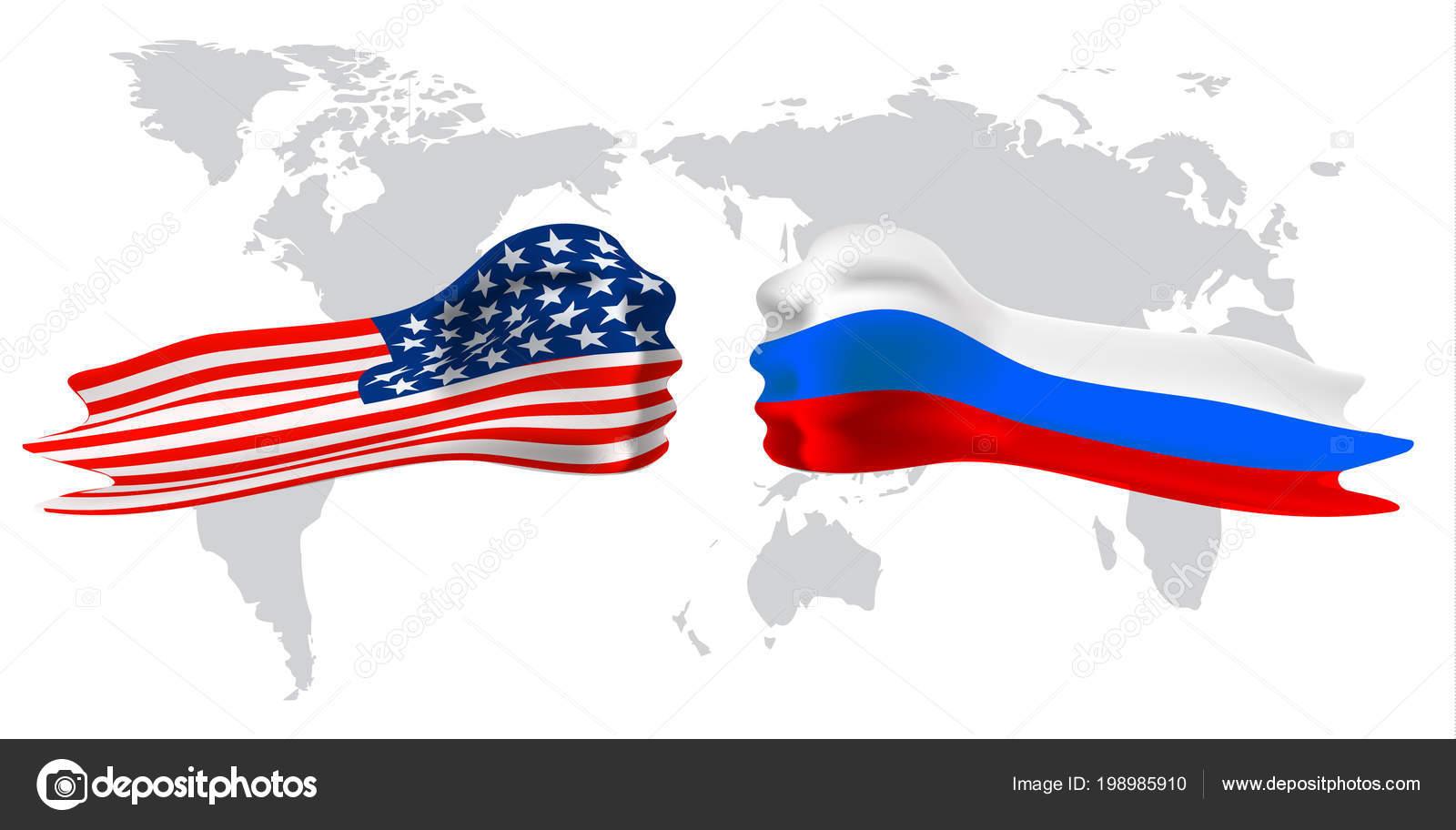 Russia vs america fist flag on world map background stock vector russia vs america fist flag on world map background stock vector gumiabroncs Images