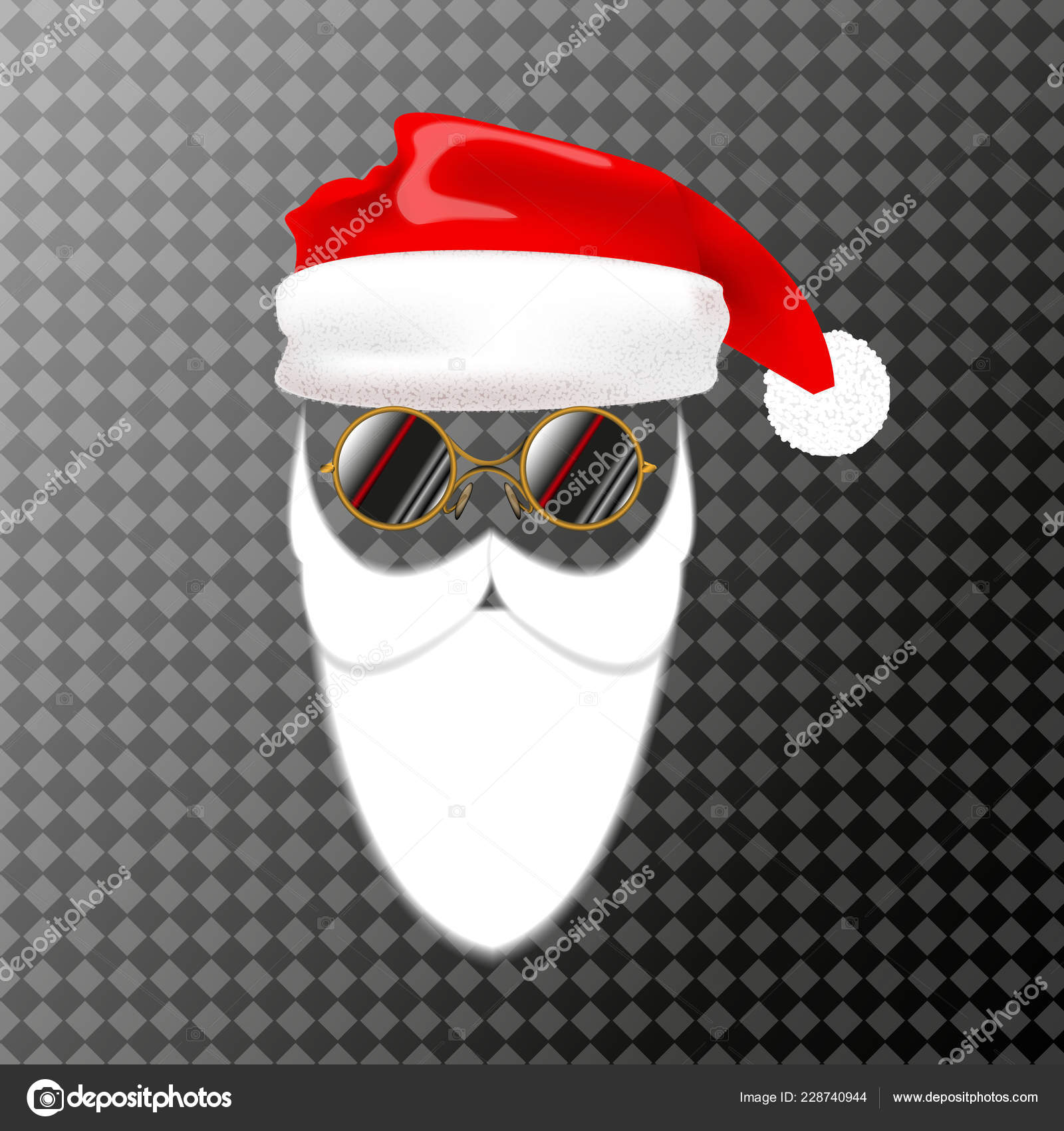657786e2113 Mask Santa Claus Christmas Hat Beard Vector Illustration Isolated — Stock  Vector