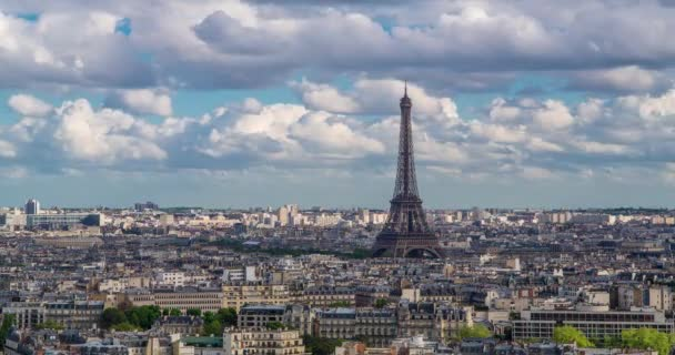 Eiffel Tower, elevated aerial view over rooftops, Paris, France, Europe - Time lapse