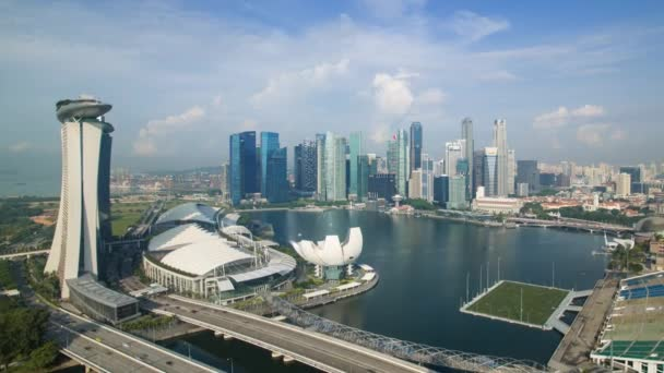 South East Asia, Singapore, view of the Downtown Singapore skyline and Marina Bay