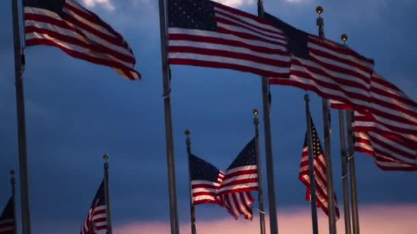 close up view of USA national flags with dramatic sky on background, Washington, USA