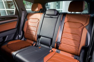 03 of October, 2018 - Vinnitsa, Ukraine. New Volkswagen Touareg  presentation in showroom - interior inside