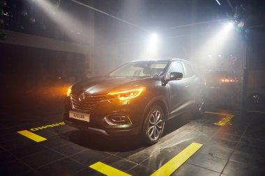 Vinnitsa, Ukraine - March 21, 2018. Renault Kadjar - new model car presentation in showroom - side view