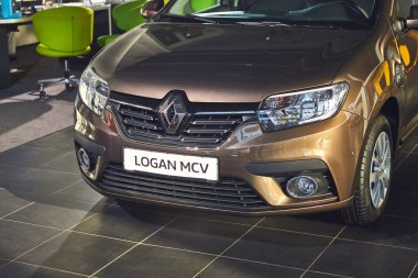 Vinnitsa, Ukraine - April 02, 2019. Renault Logan MCV - new model car presentation in showroom - front view
