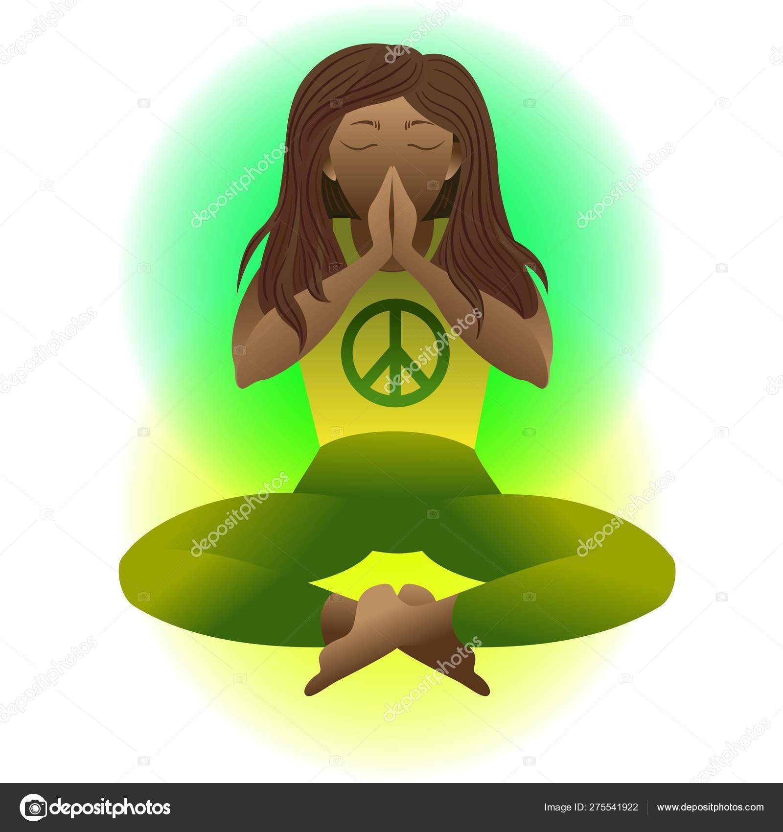 Yoga Prayer Pacific Symbol Of Peace Woman In Meditation Lotus Position Vector Flat Illustration Relaxation Cartoon Girl Sitting With Legs Crossed And Arms Folded Eyes Closed Namaste Stock Vector C Shik Shik