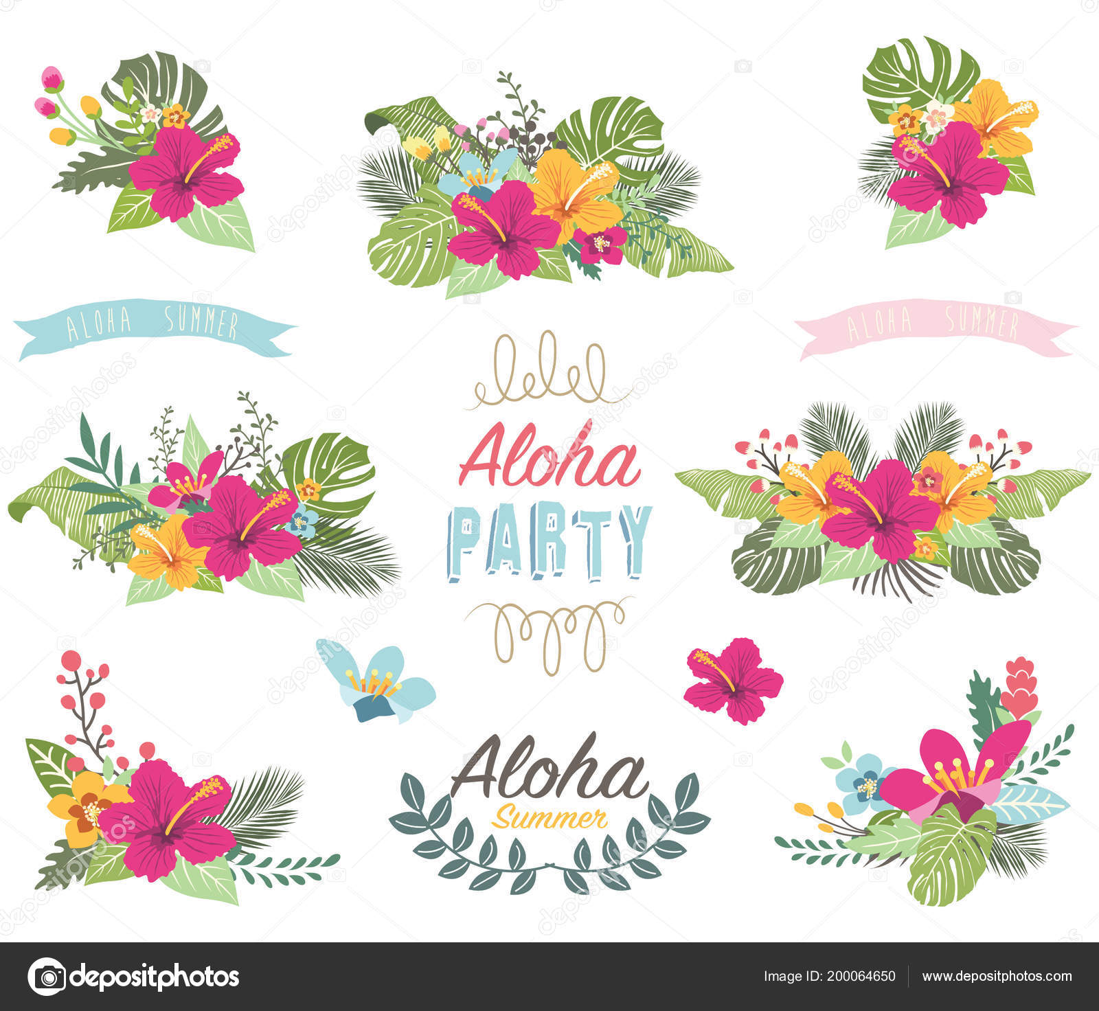 Tropicana Sommer Blumen Elemente Vektor Illustration Der Tropicana