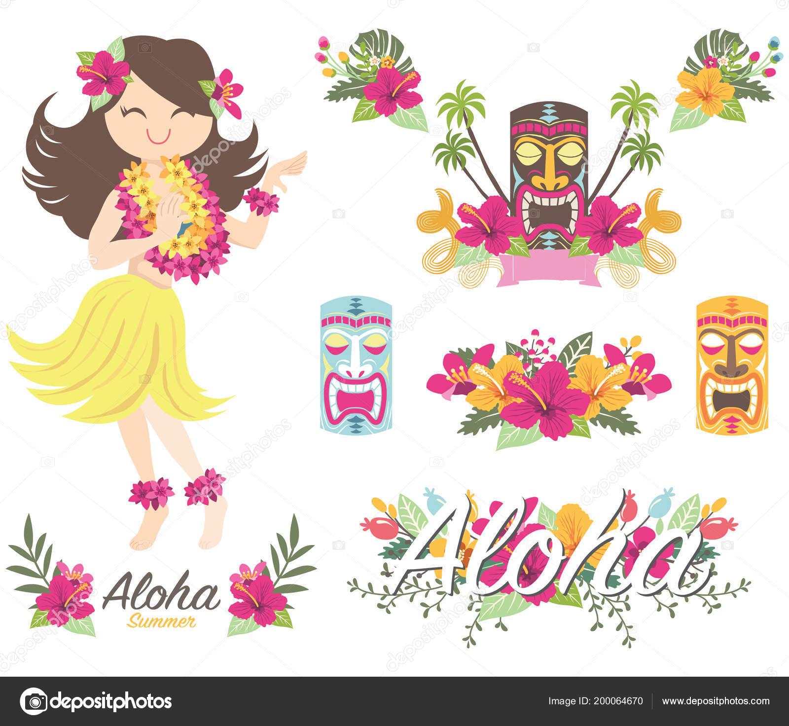 Aloha Flower Hawaiian Girl Tiki God Vector Illustration Aloha Flower