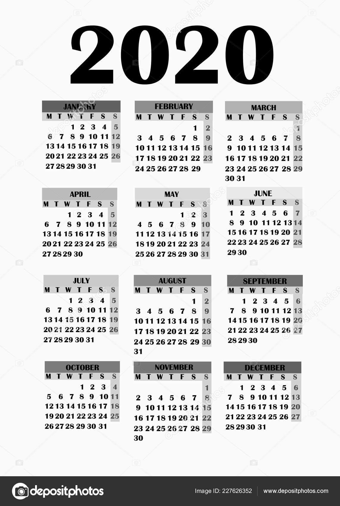 Calendario 2020 Editabile.Design Semplice Per Il Calendario 2020 Foto Stock