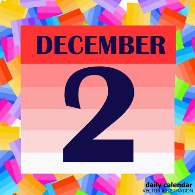 December 2 icon. For planning important day. Banner for holidays and special days. Illustration