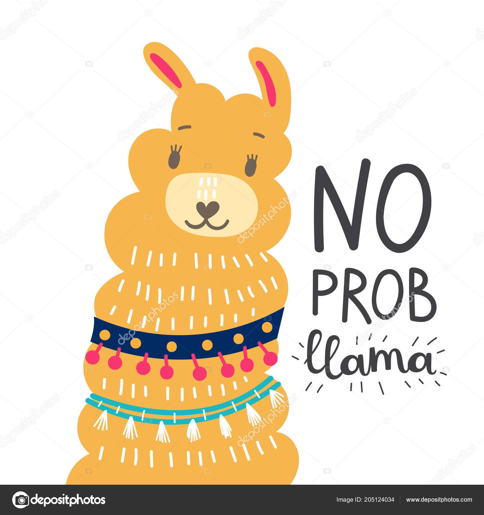 Llamas Quotes Inspirational: Aucune Citation Motivation Lama Prob Dessin Animé Mignon