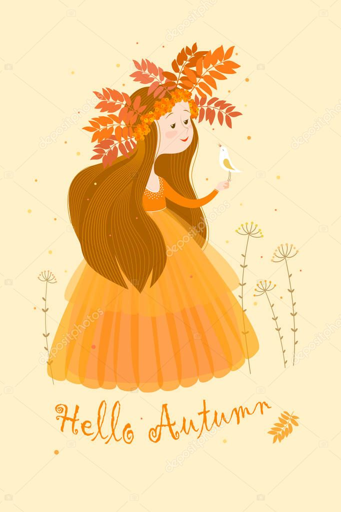 Color card with the image of autumn in the image of a cute girl with long brown hair in an airy orange dress and a wreath of leaves and berries of rowan. On the girl's hand sits a small white bird. The inscription on the bottom.