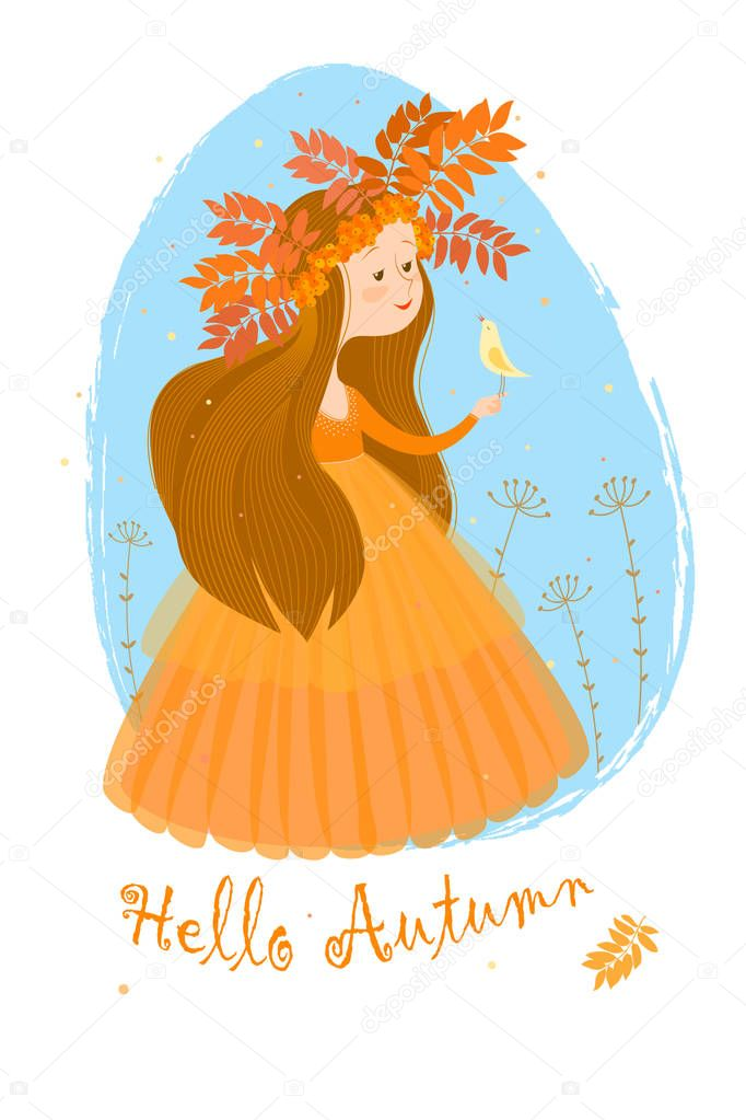 Postcard with the image of autumn in the image of a cute girl with long brown hair in an orange dress and a wreath of leaves and berries of rowan on a background a blue oval. On the girl's hand sits a small white bird. The inscription on the bottom.