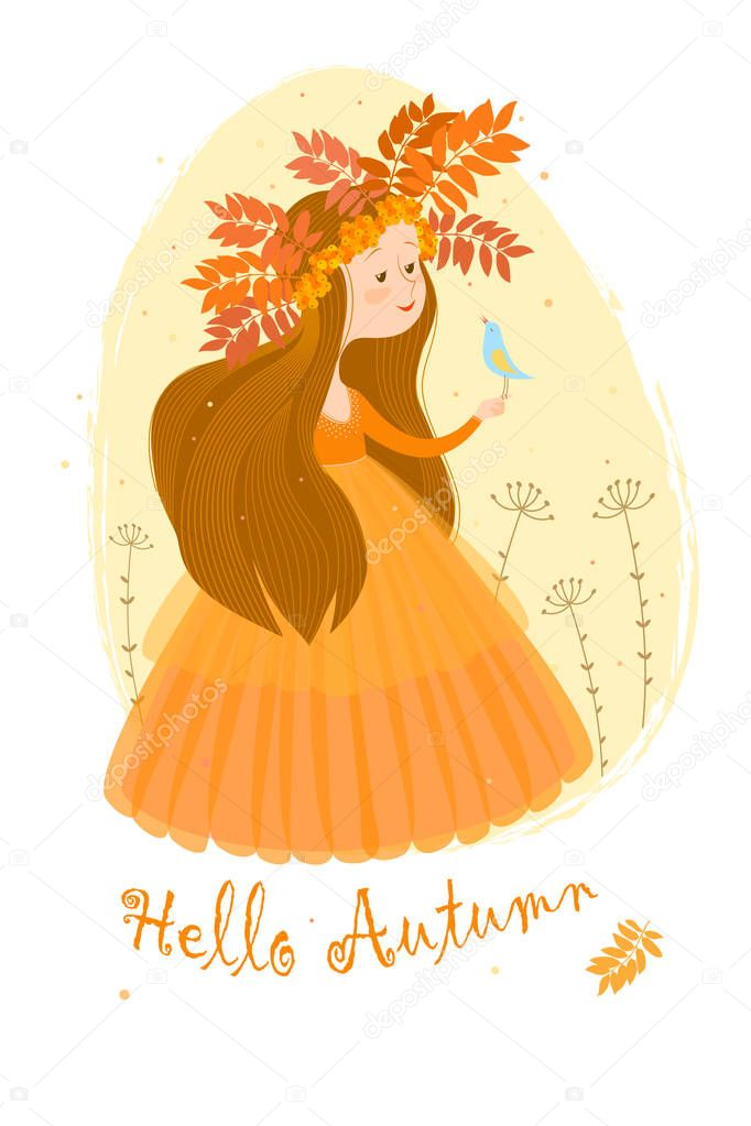 Postcard with the image of autumn in the image of a cute girl with long brown hair in an orange dress and a wreath of leaves and berries of rowan on a background a beige oval. On the girl's hand sits a small light blue bird. The inscription on the bo