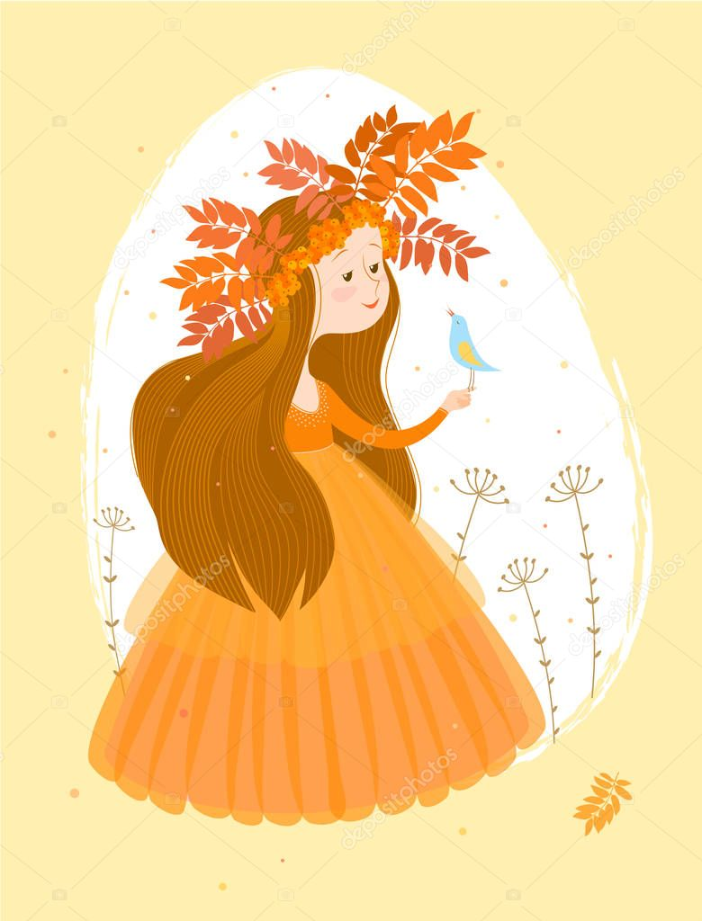 Illustration of autumn in the image of a cute girl with long brown hair in an orange dress and a wreath of leaves and berries of rowan on a white oval background. On drawn girls sits a small light-blue a bird.