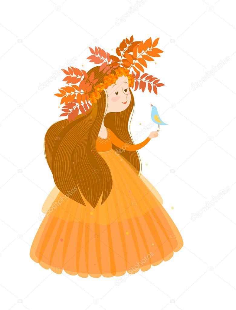 Illustration of autumn in the image of a cute girl with long brown hair in an orange dress and a wreath of leaves and berries of Rowan. On drawn girls sits a small light-blue a bird. Isolated image.