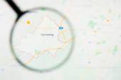 Germering Stadt in Deutschland, Bayern Visualisierung anschauliches Konzept auf Bildschirm durch Lupe