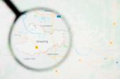 Straubing Stadt in Deutschland, Bayern Visualisierung anschauliches Konzept auf Bildschirm durch Lupe