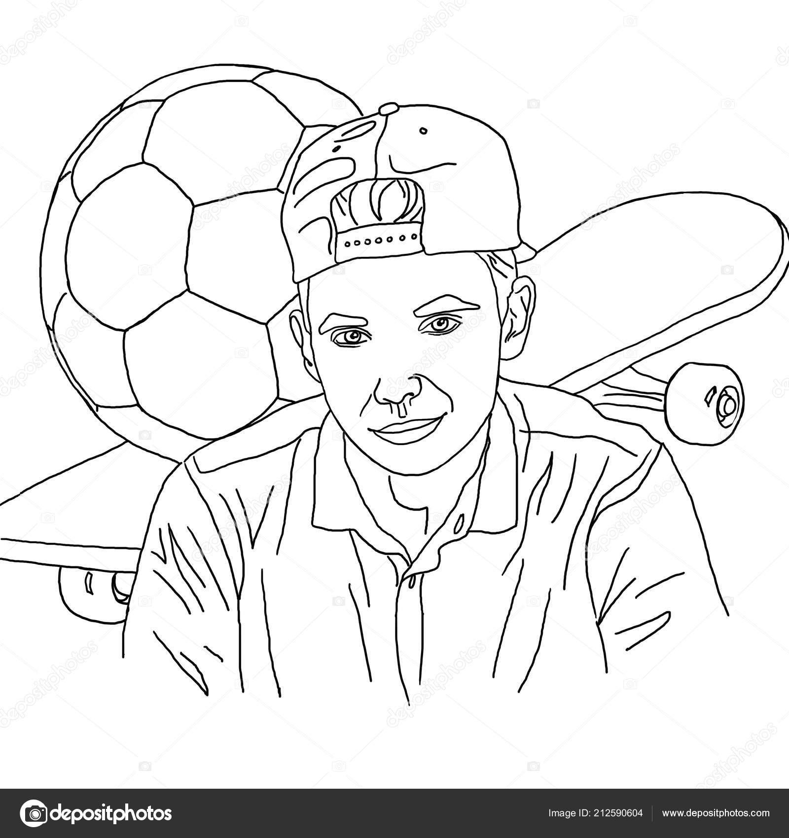 Disegni Colorare Lineare Disegno Ragazzo Adolescente Skateboard