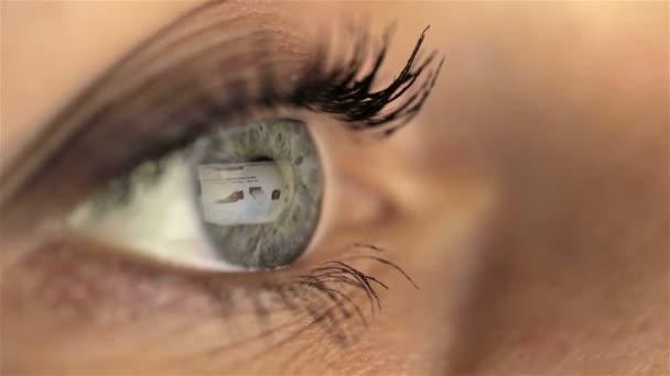 Woman girl eye macro looking monitor, online shoping Internet amazon