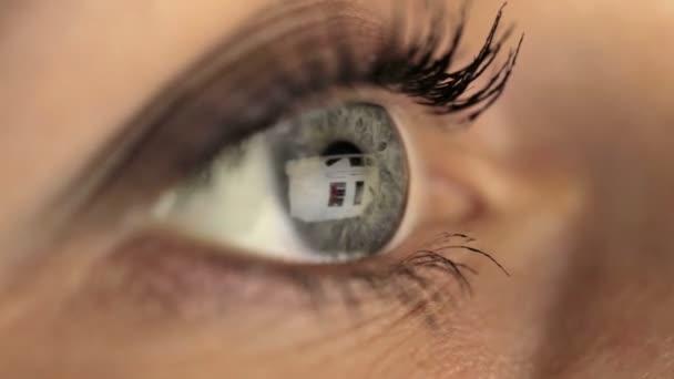 Woman girl eye macro looking monitor, online shoping Internet ebay