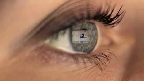 Woman girl eye macro looking monitor, online shoping Internet taobao alibaba