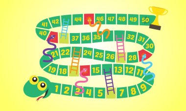 Vector illustration of Puzzle game Snake ladder