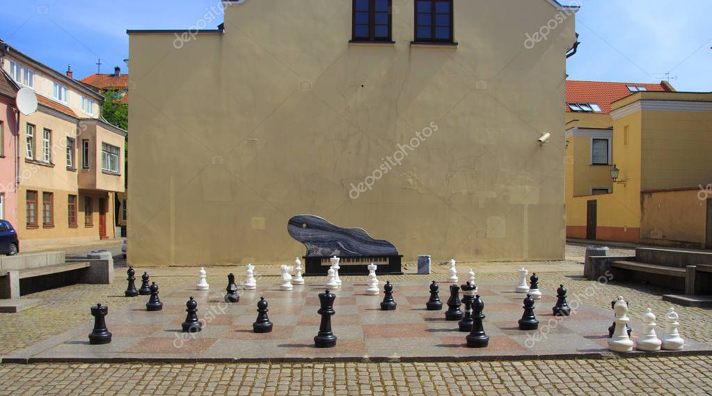 big chess on a background of wooden house and grass field