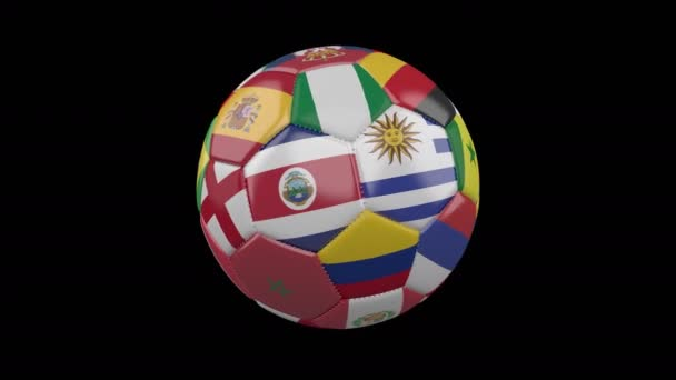 Rotating soccer ball with flags of the countries of the world on a black background, 4k footage, loop