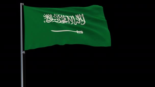 Izolovat vlajka Saúdské Arábie na stožáru vlaje ve větru na průhledné pozadí, vykreslování 3d, 4 k prores 4444 záběry s alfa průhledností