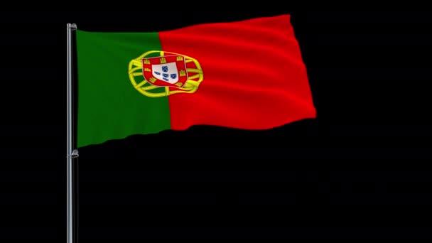 Elkülöníteni a zászlórúd, csapkodott a szélben, átlátszó háttér, 3d-leképezést, 4 k prores 4444 felvételeket alfa átláthatóság a Portugália zászlaja
