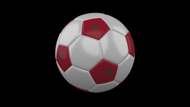Soccer ball with Morocco flag colors rotates on transparent background, 3d rendering, prores 4444 with alpha channel, loop