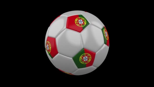 Soccer ball with Portugal flag colors rotates on transparent background, 3d rendering, prores 4444 with alpha channel, loop
