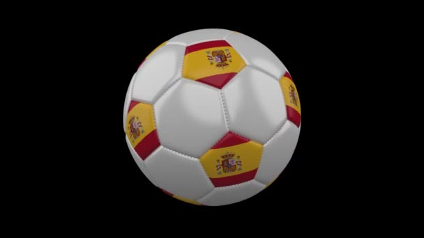 Soccer ball with Spain flag colors rotates on transparent background, 3d rendering, prores 4444 with alpha channel, loop