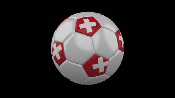 Soccer ball with Switzerland flag colors rotates on transparent background, 3d rendering, prores 4444 with alpha channel, loop