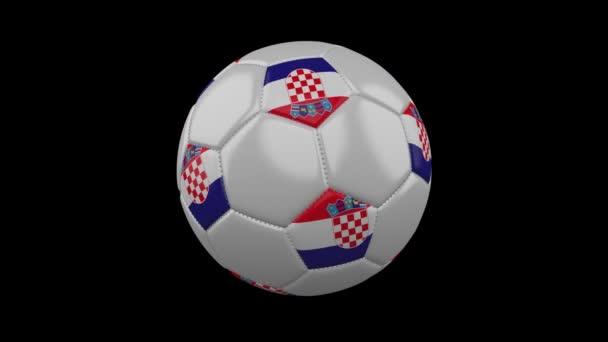 Fotbalový míč s barvami vlajky Chorvatsko otáčí na průhledné pozadí, 3d rendering, prores 4444 s alfa kanálem, smyčka