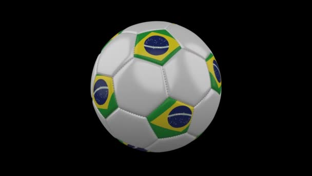 Soccer ball with Brazil flag colors rotates on transparent background, 3d rendering, prores 4444 with alpha channel, loop