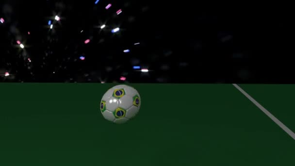 A soccer ball with the flag of Brazil rolls out over the white line of the football field, 3D rendering, prores footage.