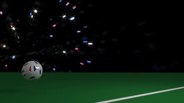 Soccer ball with flag of France crosses line of football goal, 3d rendering, prores footage.