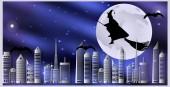 Vektorové ilustrace pohlednice pro Halloween. Čarodějnice na koštěti a netopýři jsou létání nad městem za měsíční noci