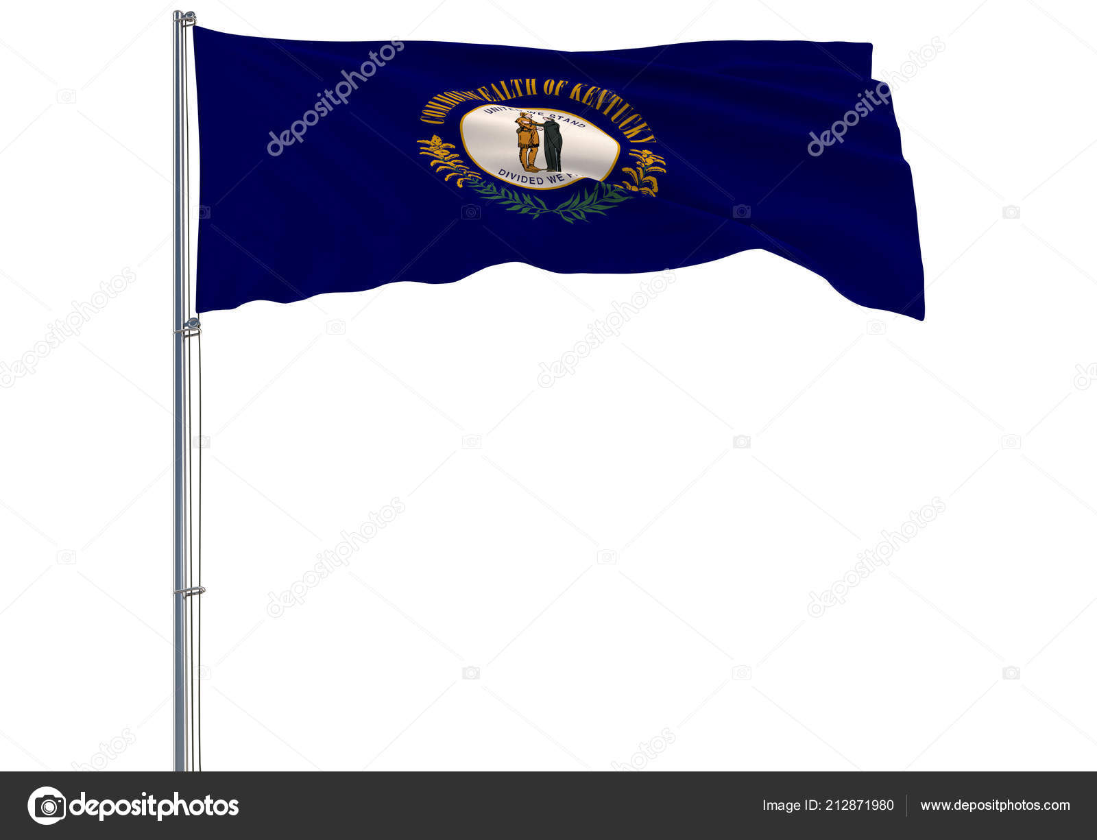 Isolated Flag State Kentucky Flying Wind Rendering — Stock Photo