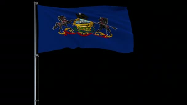 Flag of United States Pennsylvania, 4k prores 4444 footage with alpha