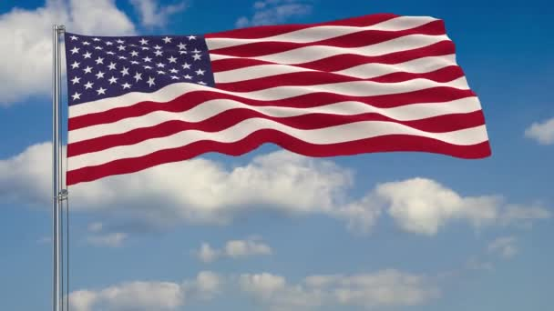 Flag of USA against background of clouds