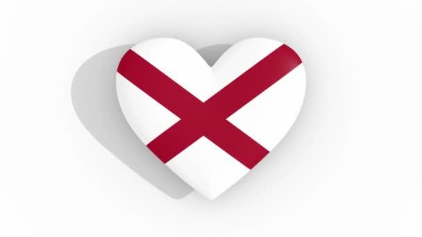 Heart in colors of flag of US state Alabama, loop