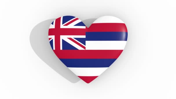 Heart in colors of flag of United States of America Hawaii pulses, loop