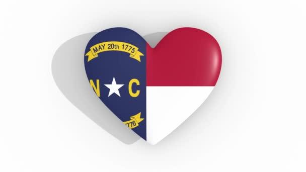 Heart in colors of US state North Carolina, loop
